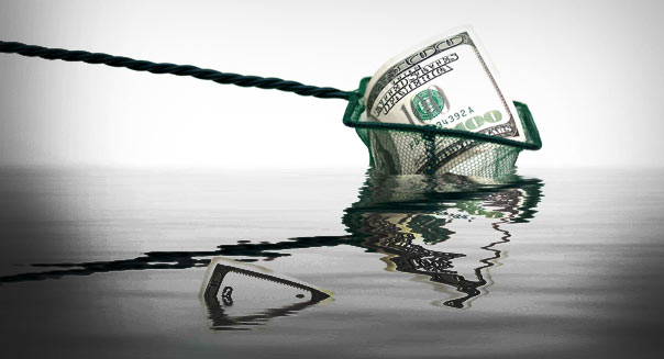 fishing net with money and water,conceptual photo